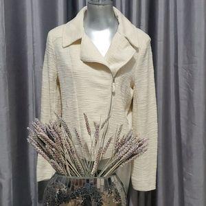 Max Studio Ivory Textured Knit Moto Jacket Size M